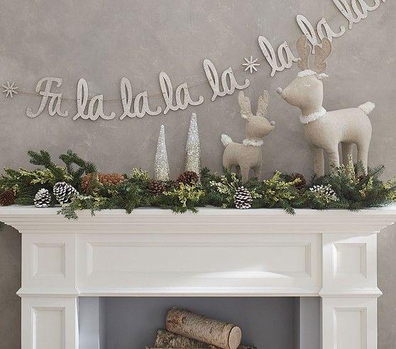 Fa La La Glitter Garland Christmas Mantel Decorations Christmas Fireplace Christmas Decorations For Kids
