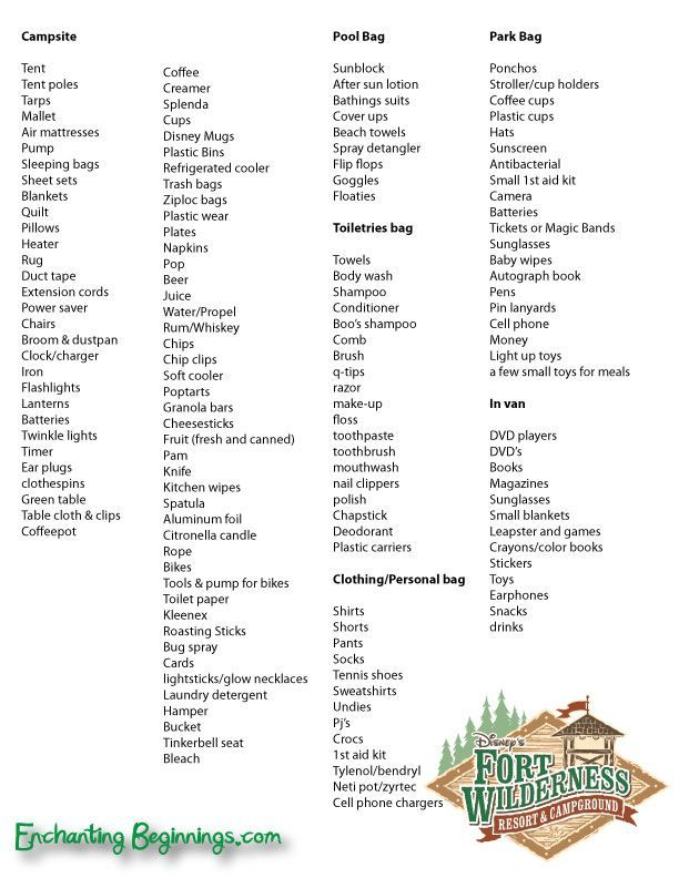 Ft. Wilderness Camping Packing List - this is a bit excessive, but a good  starting point | Camping Nuts Tools | Pinterest | Pack list, Wilderness and  Disney ...