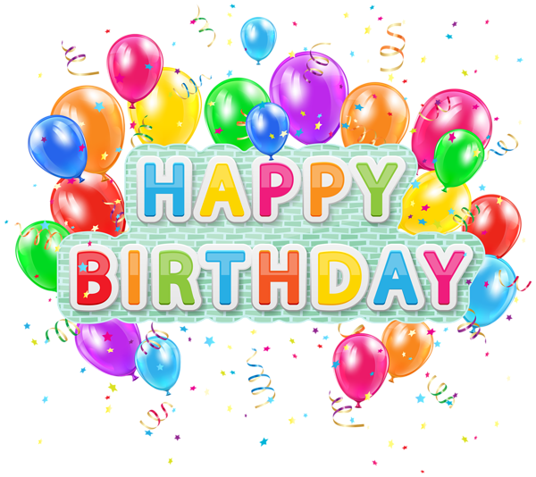 Happy Birthday Deco Text With Balloons PNG Clip Art Image