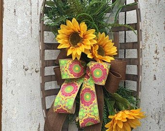 Photo of Best seller Sunflower wreath, Summer wreaths for front door, Double door wreath, Year round wreath, Fall wreaths, Free shipping