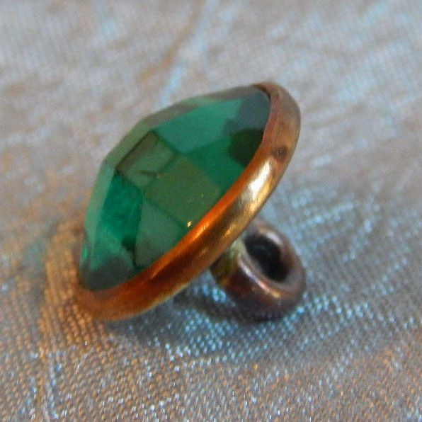 Antique 1800 s Button Jeweled & Brass Faceted Green Glass #567a