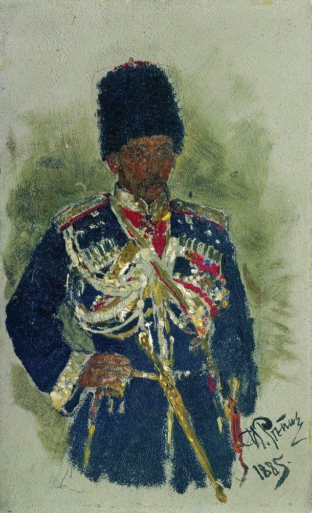 Le général Pyotr Aleksandrovich Cherevin en uniforme de la garde impériale  (1885, Galerie Tretiakov, Moscou) d'Ilya Repine (1844-1930)