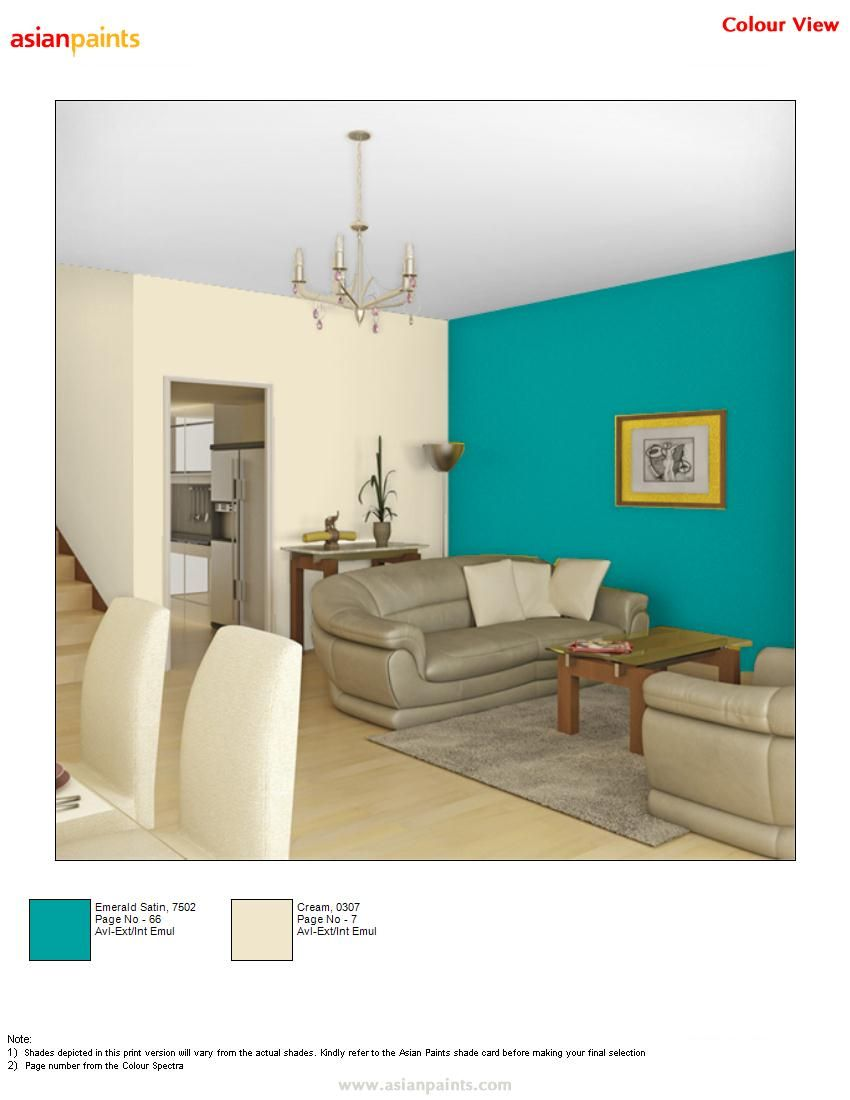 Hall in bluish with cream combination is customer choice for Emerald satin paint