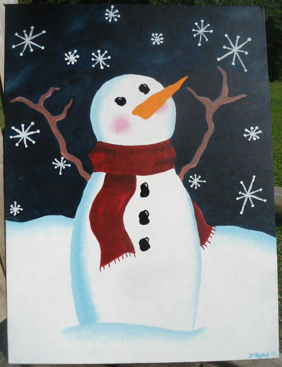 Winter sale snowman catching flakes acrylic painting for How to paint snowmen