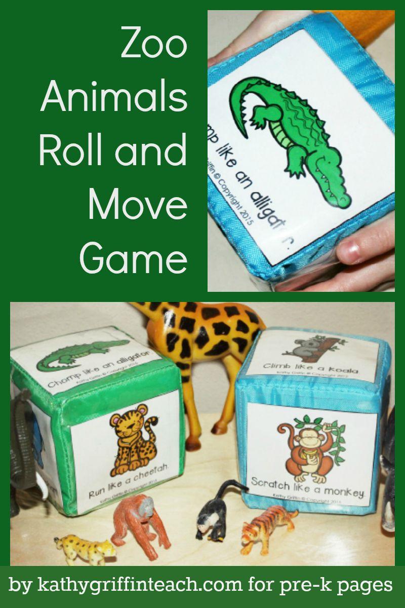Zoo Animals Roll and Move Game Zoo preschool, Zoo animal