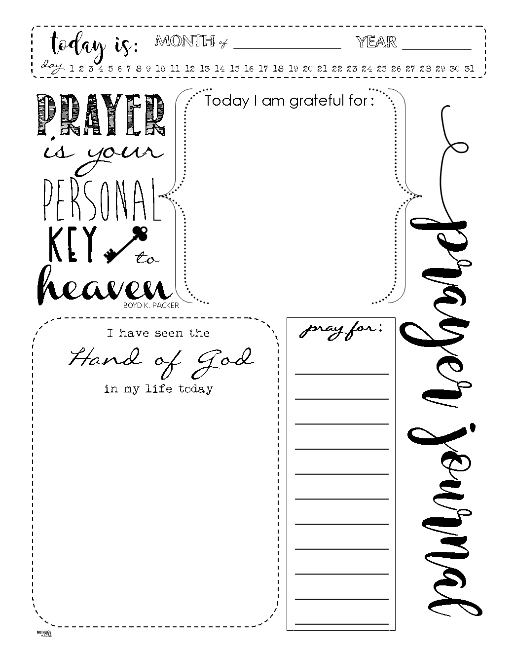 Hilaire image inside free printable prayer journal