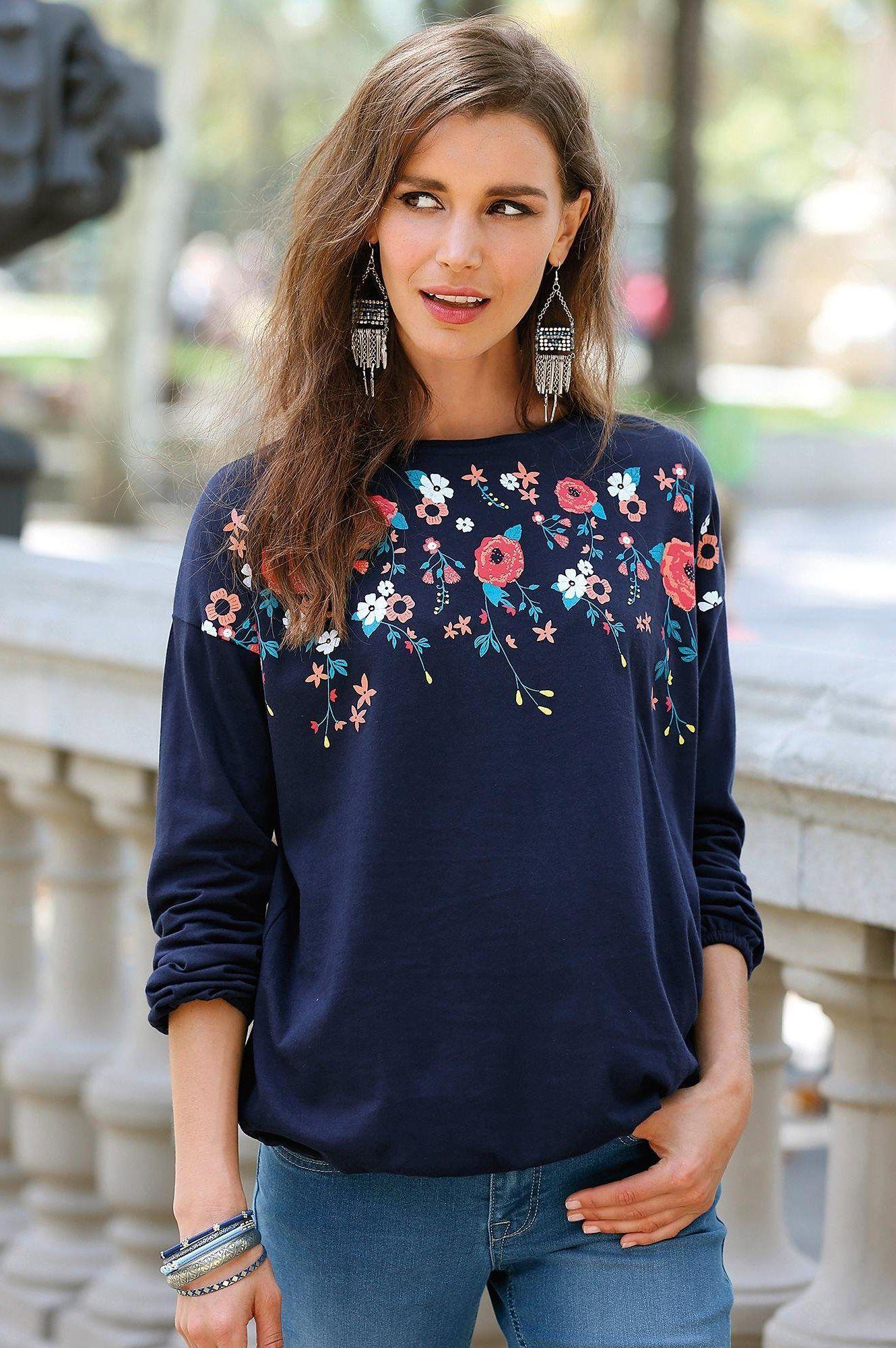 4f96bfd4372 Tee-shirt avec fleurs manches longues femme Exclusivité 3SUISSES - Bleu  Marine