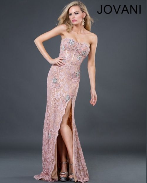 Jovani style 73118 is a soft pink lace overlay embroidered gown that ...