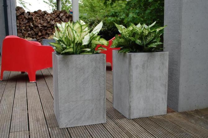 2er Set Blumenkubel Pflanzkubel Aus Beton Faserbeton Block 60cm