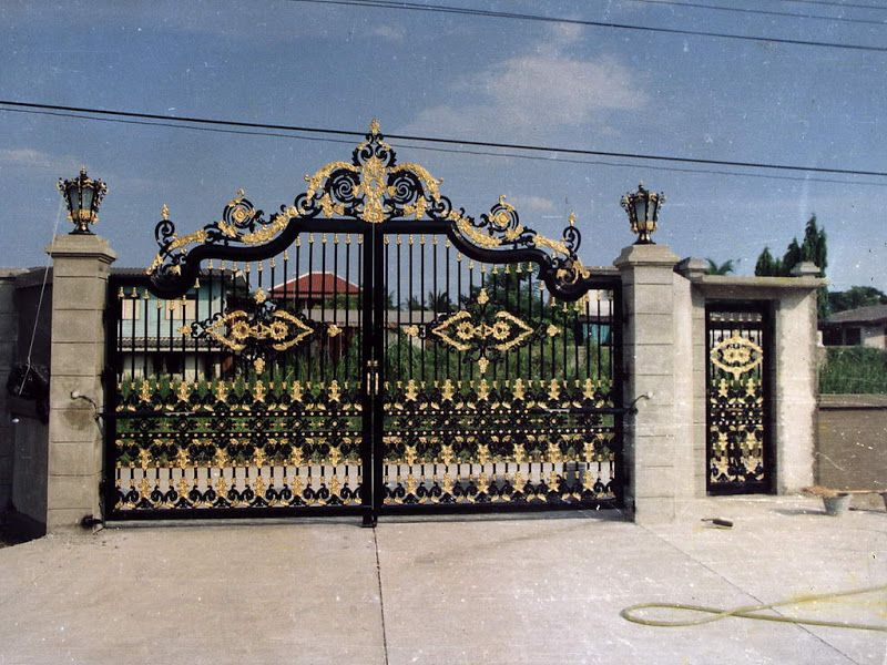 Iron Gates With Black Iron For Impressive Main Gate