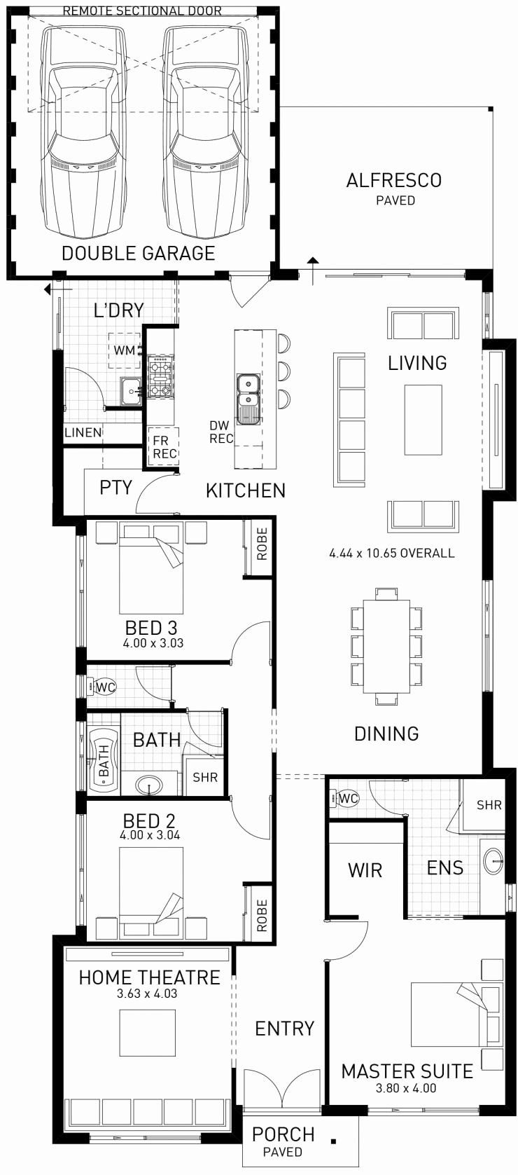 Narrow Home Designs Nsw Unique The Horizon Three Bedroom Family Home Floor Plan Design Single Storey House Plans Home Design Floor Plans