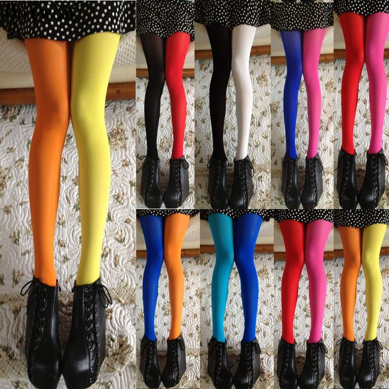 ce602f9915b Women Patchwork Footed Tights Stretchy Pantyhose Stockings Elastic Two Color  Silk Stockings Skinny Legs Collant Sexy Pantyhose