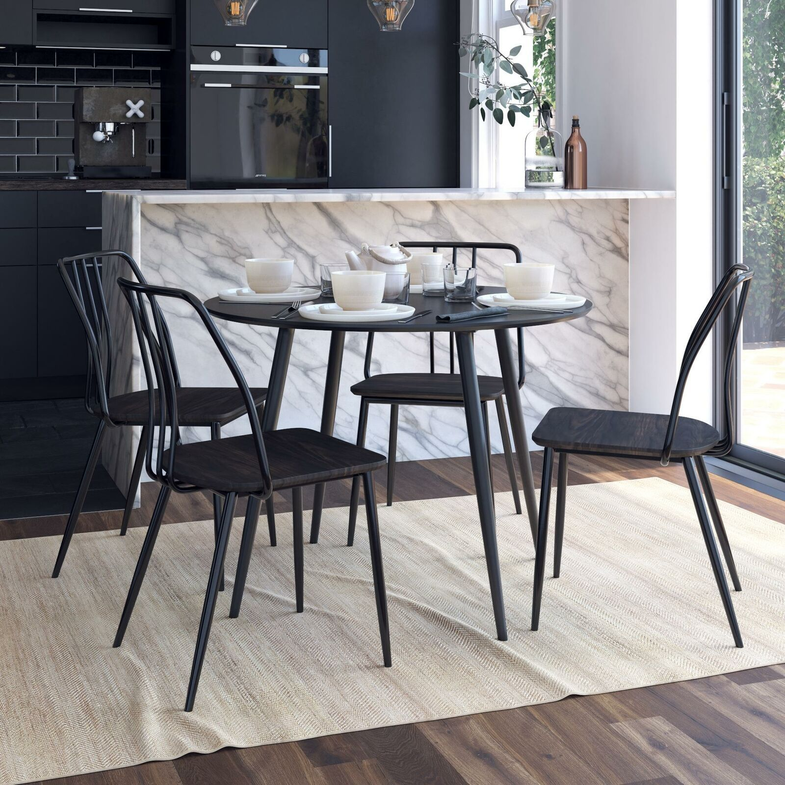 Realrooms 5 Piece Nora Round Dining Table Set With Colton Dining