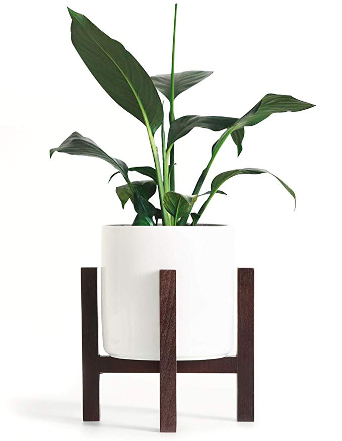Amazon Com Mkono Small Mid Century Planter Tabletop 4 5 Inch Ceramic Plant Pot With Wood Stand For Succulent Cheap Plant Pots Small Plants Ceramic Plant Pots