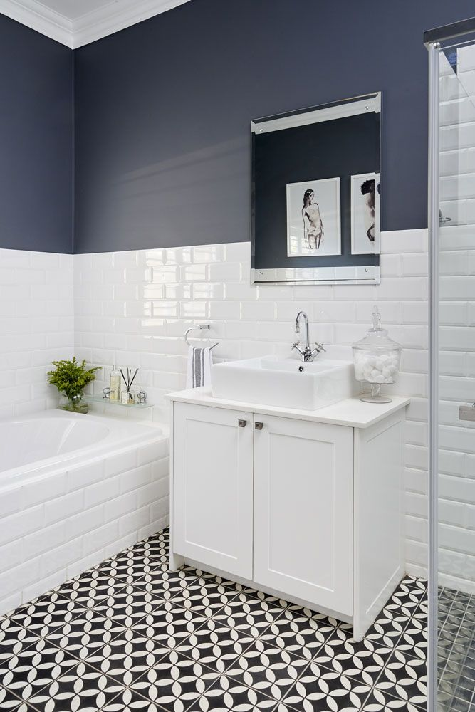 A tired bathroom updated with a monochromatic scheme | SA Garden and Home