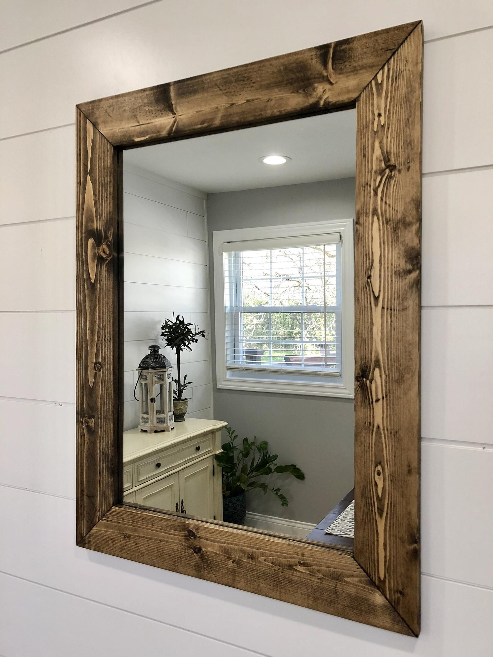 Dark Walnut Mirror Wood Frame Mirror Handmade Rustic Wood Etsy