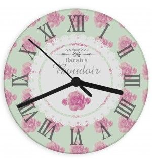 Vintage Rose Glass Clock | Clocks | Exclusively Personal