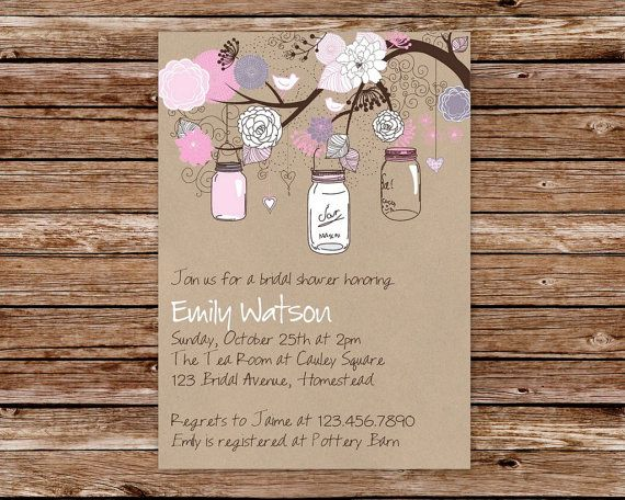 free printable mason jar invites printable rustic kraft vintage mason jars bridal shower invitation