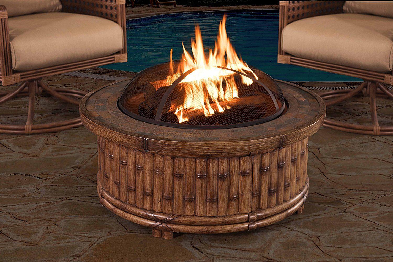 Amazon Com Sunjoy 36 Covington Fire Pit With Slate Platform Top Natural Color Garden Outdoor Fire Pit Outdoor Kitchen Outdoor Kitchen Design