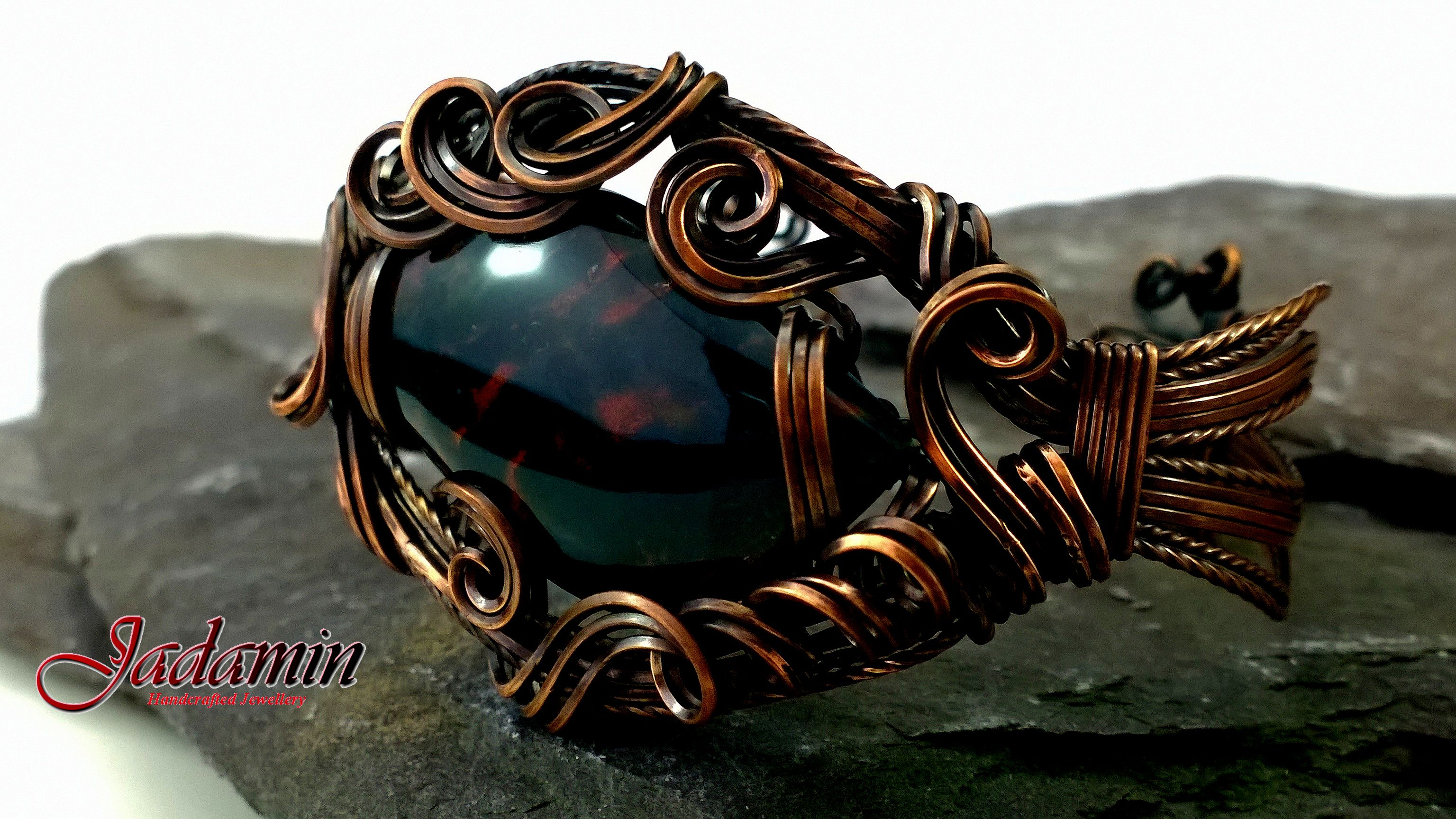 This Beautiful Bloodstone Cuff is a one of a kind piece.  The copper wire has been swirled and sculpted around a stunning free form Bloodstone cabochon.  The Antiqued patina on the metal brings out the beautiful colours and tones of the stone. Measurements. Made to fit a 6.5-7 inch wrist 1.5″ at the widest point *Posted […]