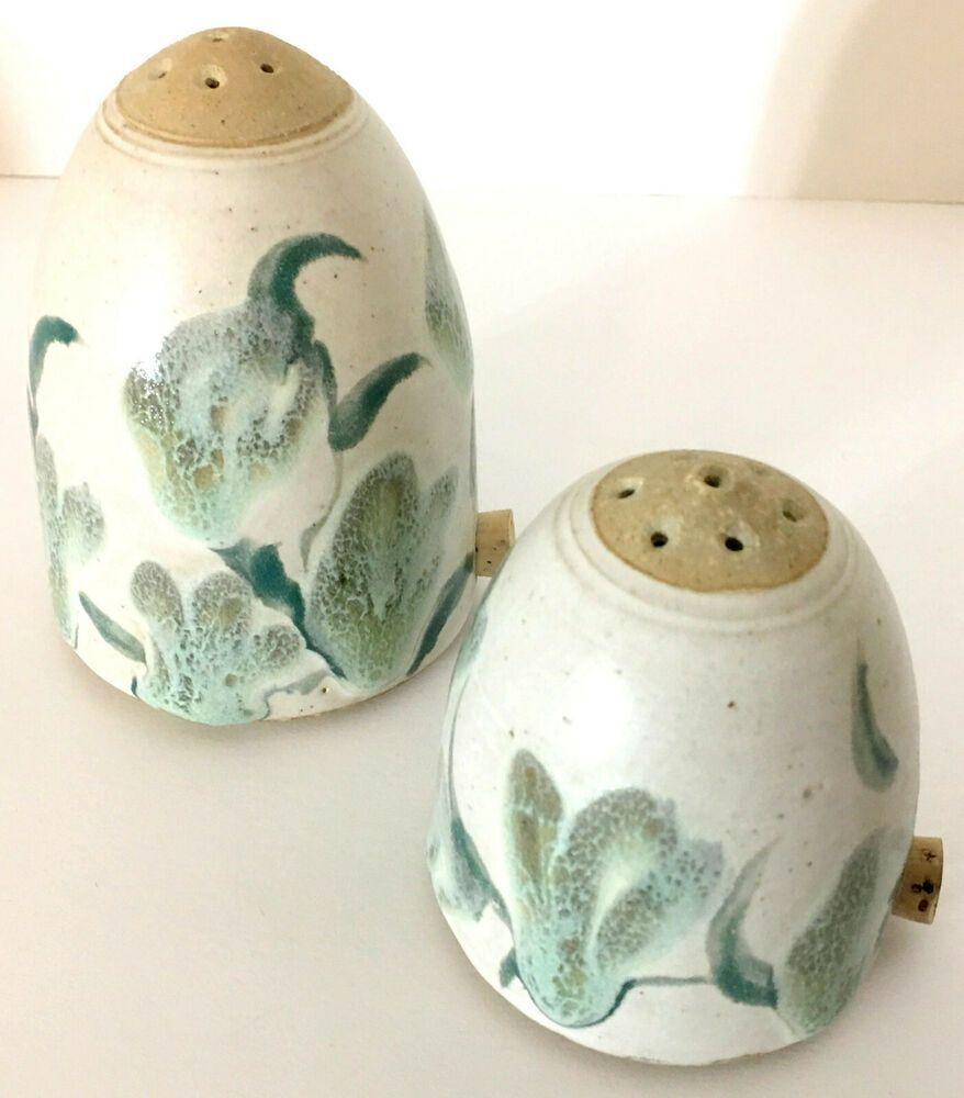 White Glaze 3 Stoneware White Handmade Pottery Ceramic Salt /& Pepper Shakers With Handles