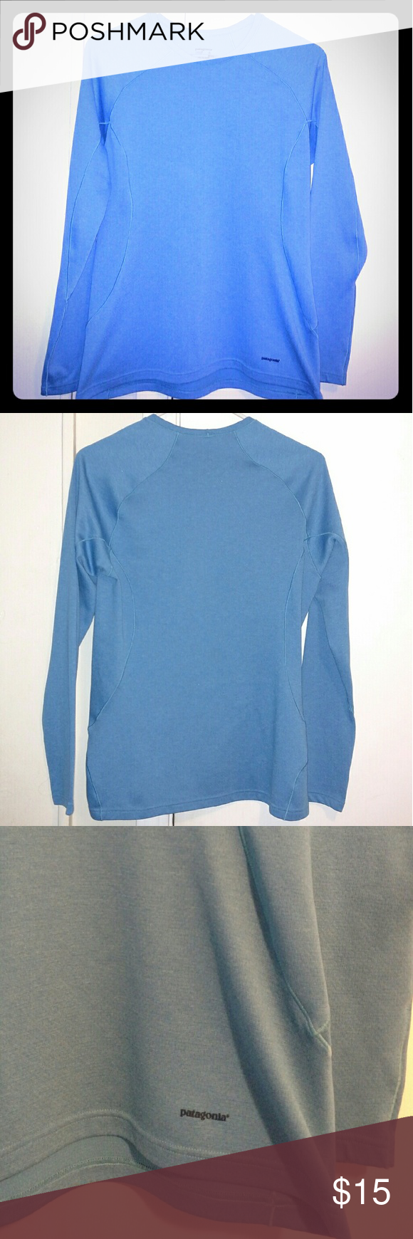 Patagonia Active Top Women's size Medium Patagonia mid weight active / hiking / backpacking LS shirt. Slightly looser fit and a thicker, warmer material then a running type shirt. Love this pretty sky blue color. EUC, no visible flaws, normal wash & wear. Perfect for your cold weather outdoor adventures! Patagonia Tops Tees - Long Sleeve