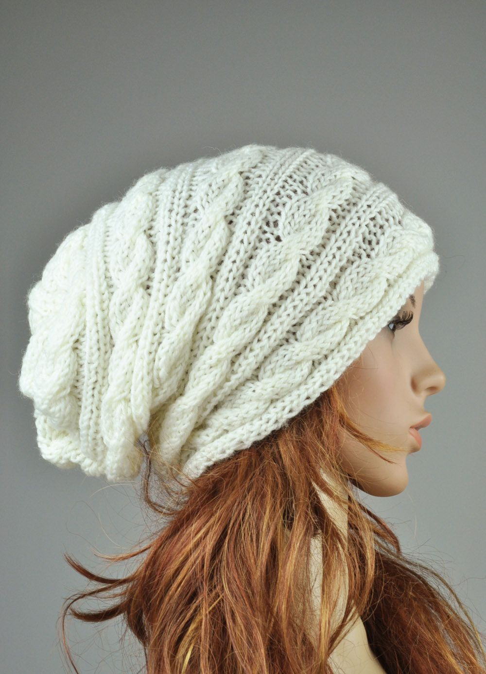 Hand knit hat - cable pattern hat in cream, slouchy hat, wool hat ...