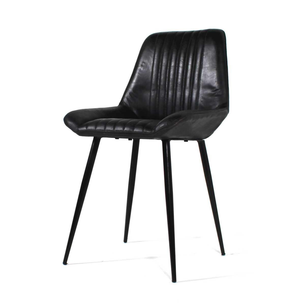 Chaise design cuir naturel noir piétement métal noir