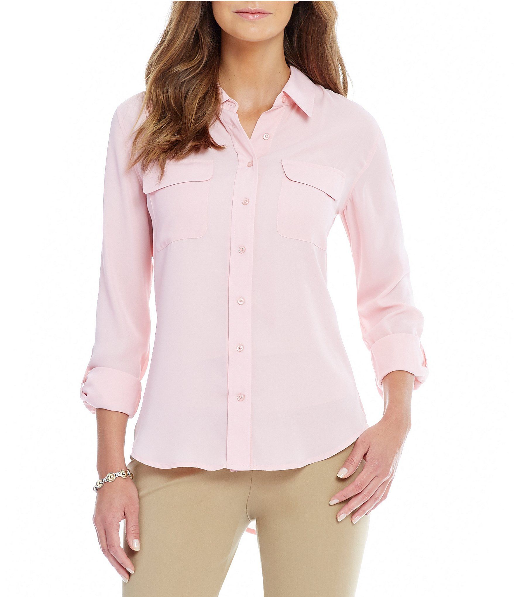 Investments Olivia Long Sleeve Button Front Roll Tab Utility Blouse