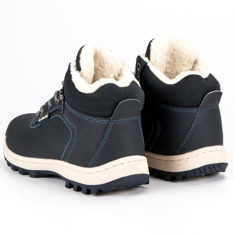 Trekkingowe Meskie Axboxing Ax Boxing Niebieskie Cieple Botki Meskie Sneakers Men Boots Shoes