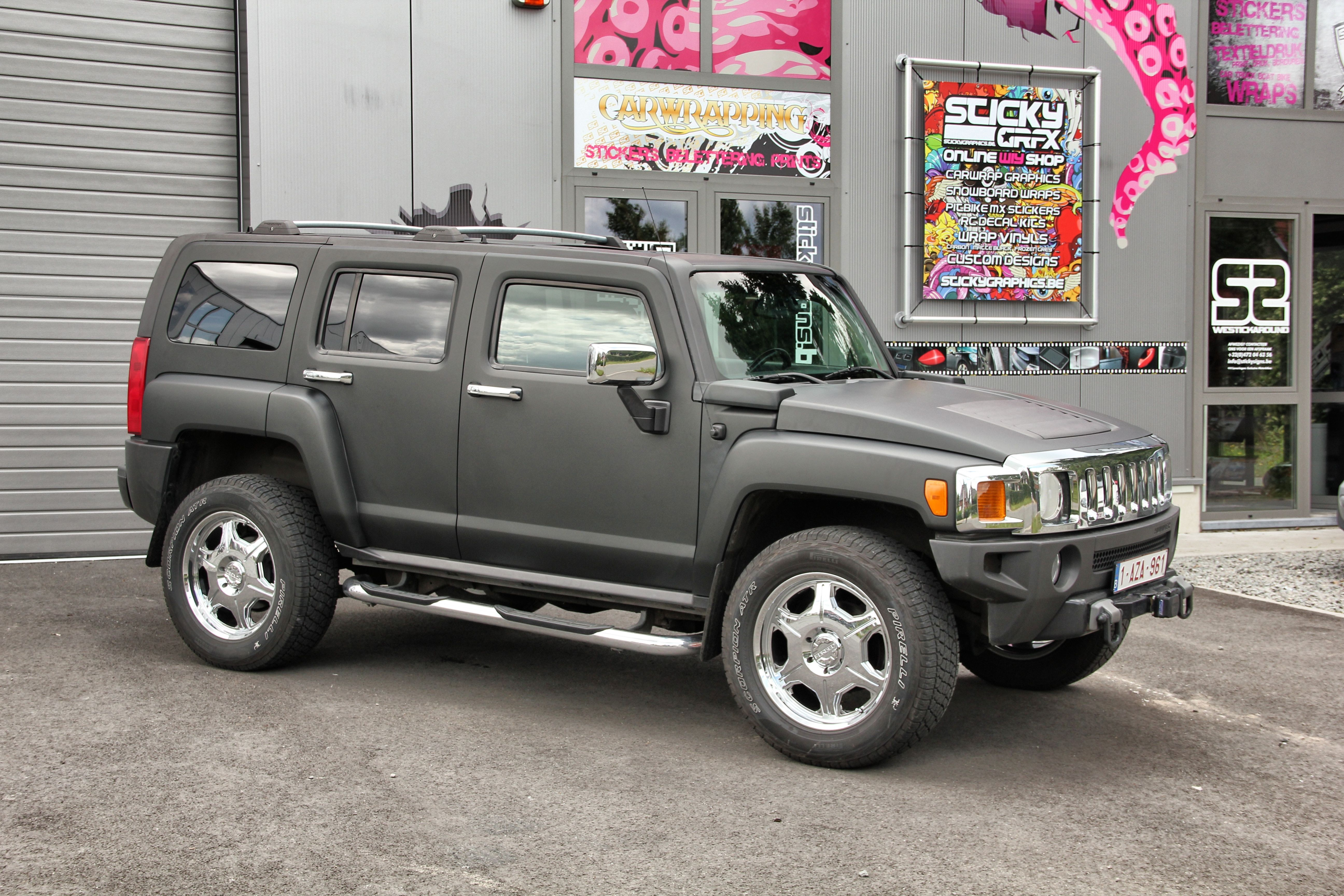 Hummer h3 wrapped in mat black carwraps by signature wraps hummer h3 wrapped in mat black vanachro Images