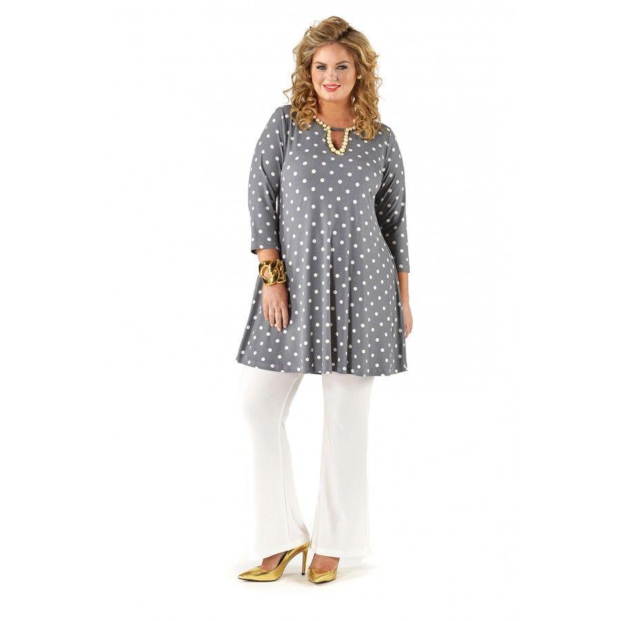 Wide Polkadot Shirt - Yoek plus size fashion