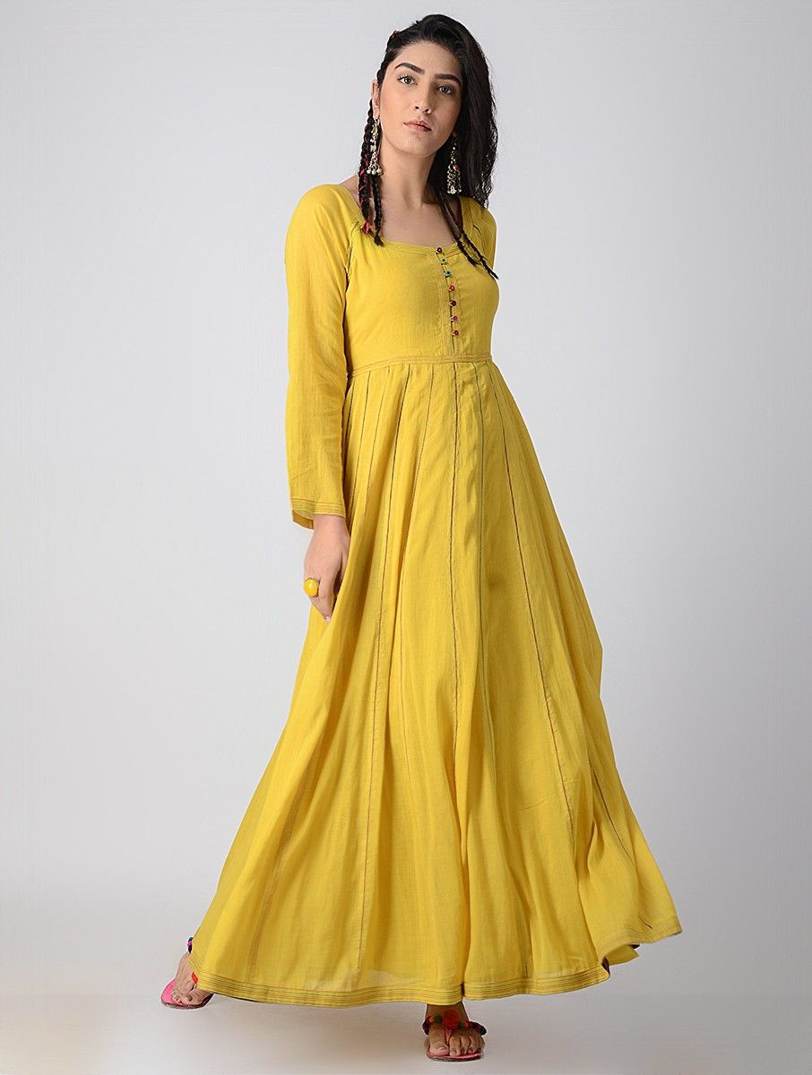 c0baadafb Yellow Paneled Cotton Mul Dress in 2019 | faldas largas y nuevas y ...