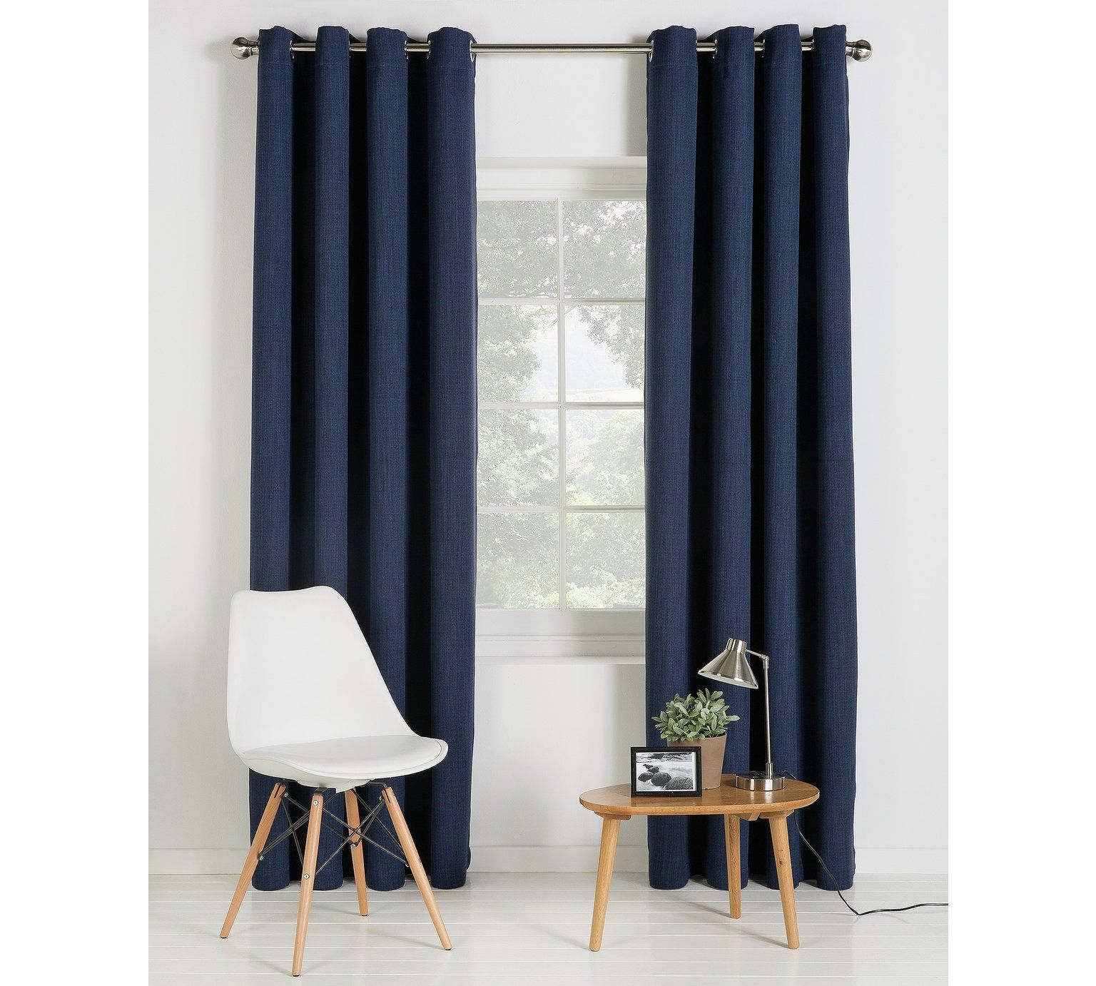 Buy Collection Linen Look Blackout Curtains 117x137cm Navy At