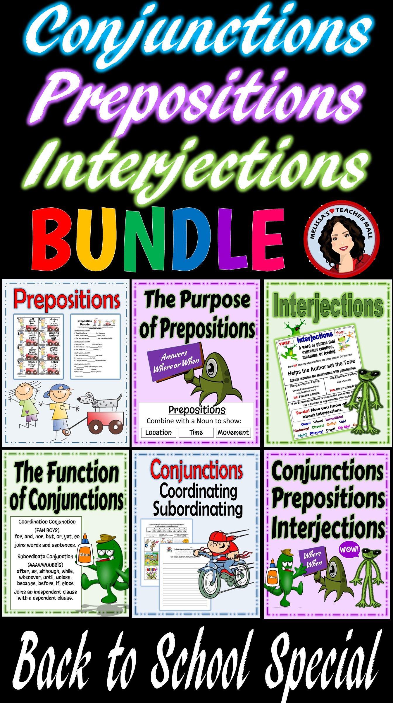 Conjunctions Prepositions Interjections Activity Bundle