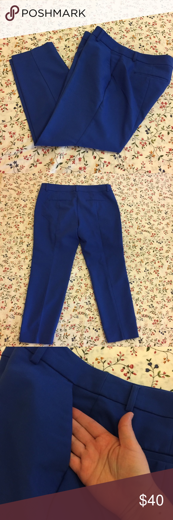 """Express Royal Blue Petite Pant Petite Mid Rise """"Columnist"""" Barely Boot Pant with 4 deep pockets (back pockets are still stitched closed). Inseam is 25in. Polyester/cotton/spandex blend. Previously loved with no visible flaws. #101 Express Pants Capris"""