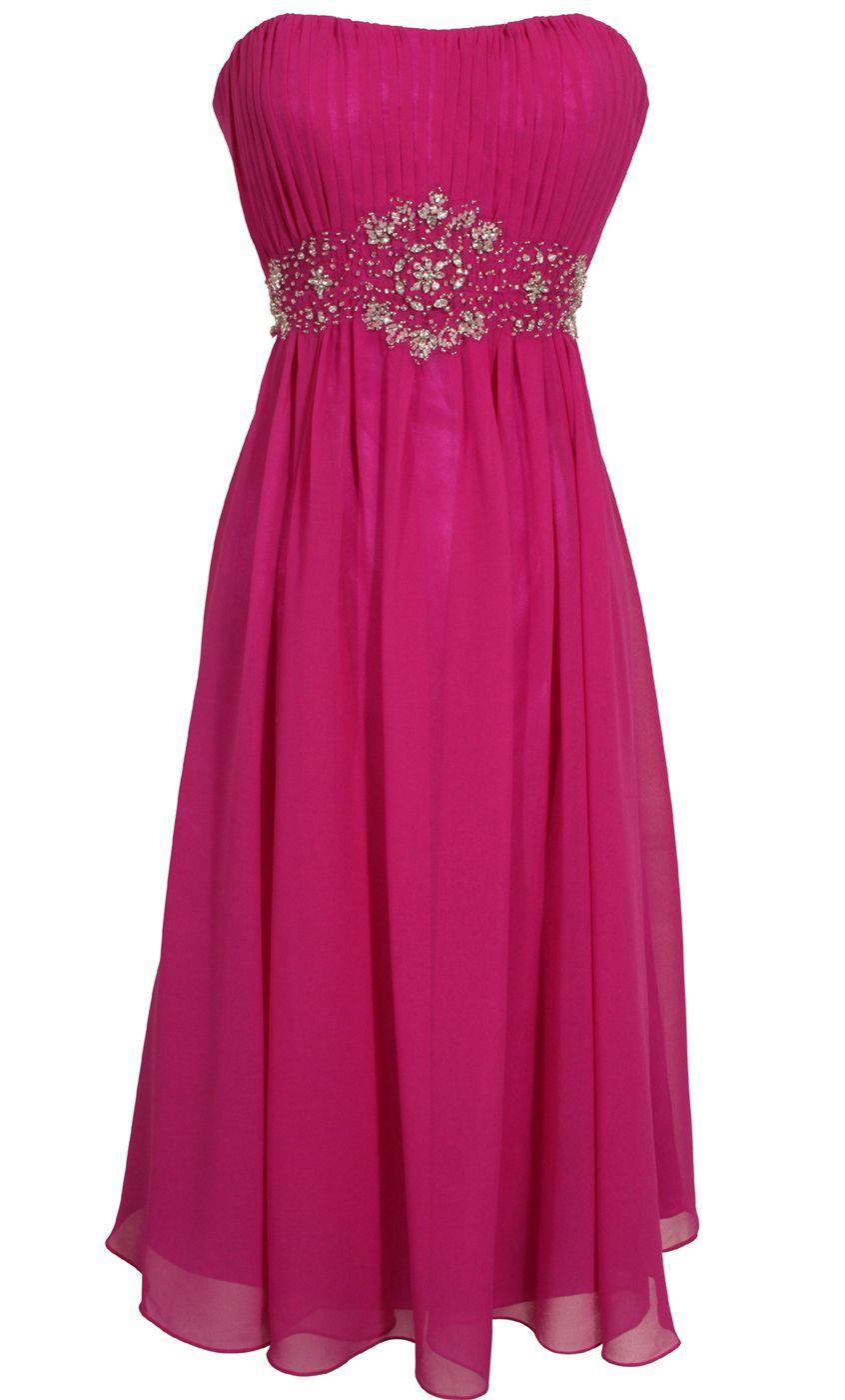 Strapless Chiffon Goddess Gown Prom Dress Formal KneeLength Junior ...