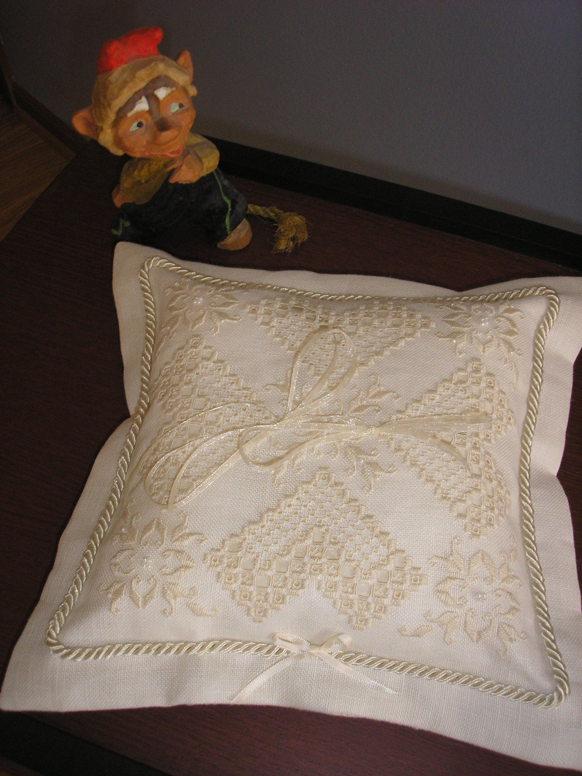 The ring bear's pillow I just finished for a family wedding.