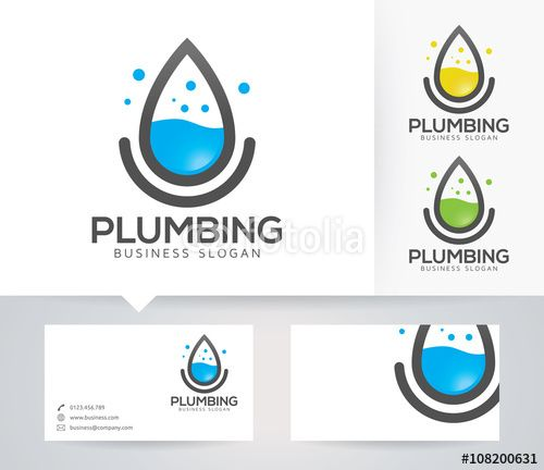 Vector Plumbing Logo With Alternative Colors And Business Card Template