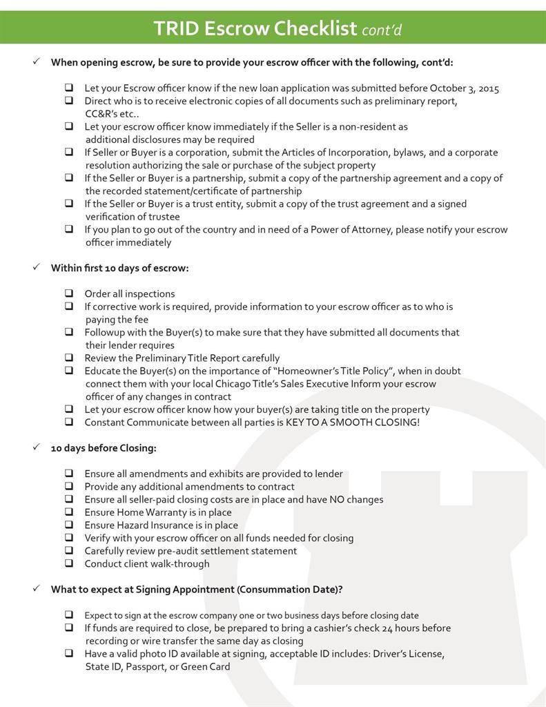Trid Escrow Checklist Transaction Coordinator Escrow Checklist