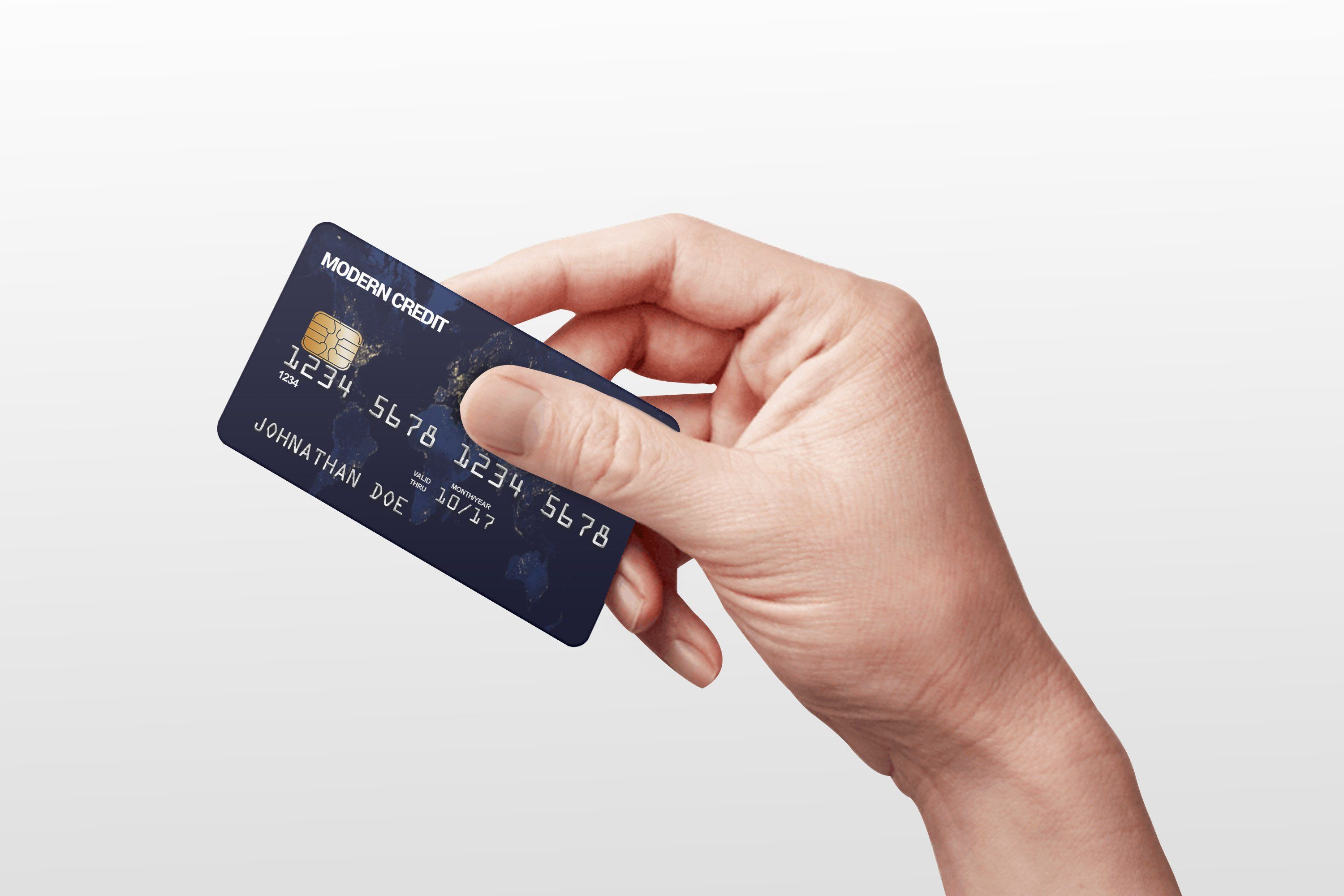 Credit Card In Hand Mock Up With Images Credit Card Design