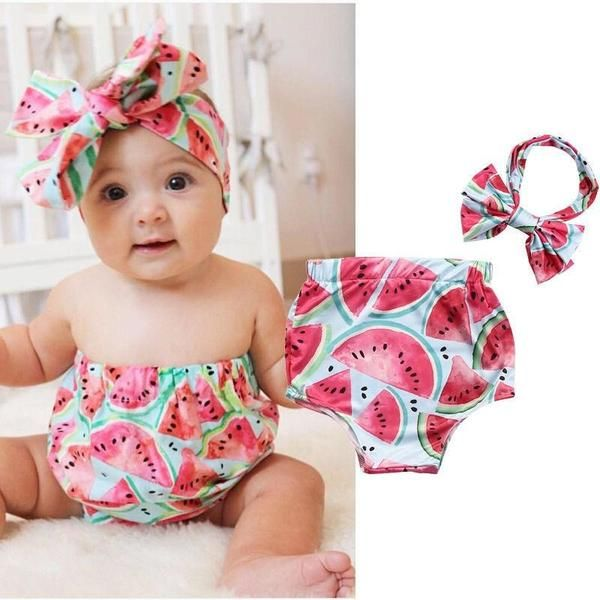 9e8d365df029 Cute Summer Watermelon Outfit Set with Headband