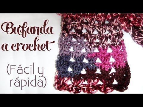 Cómo tejer: Bufanda a crochet (fácil y rápida) - YouTube | chrochet ...
