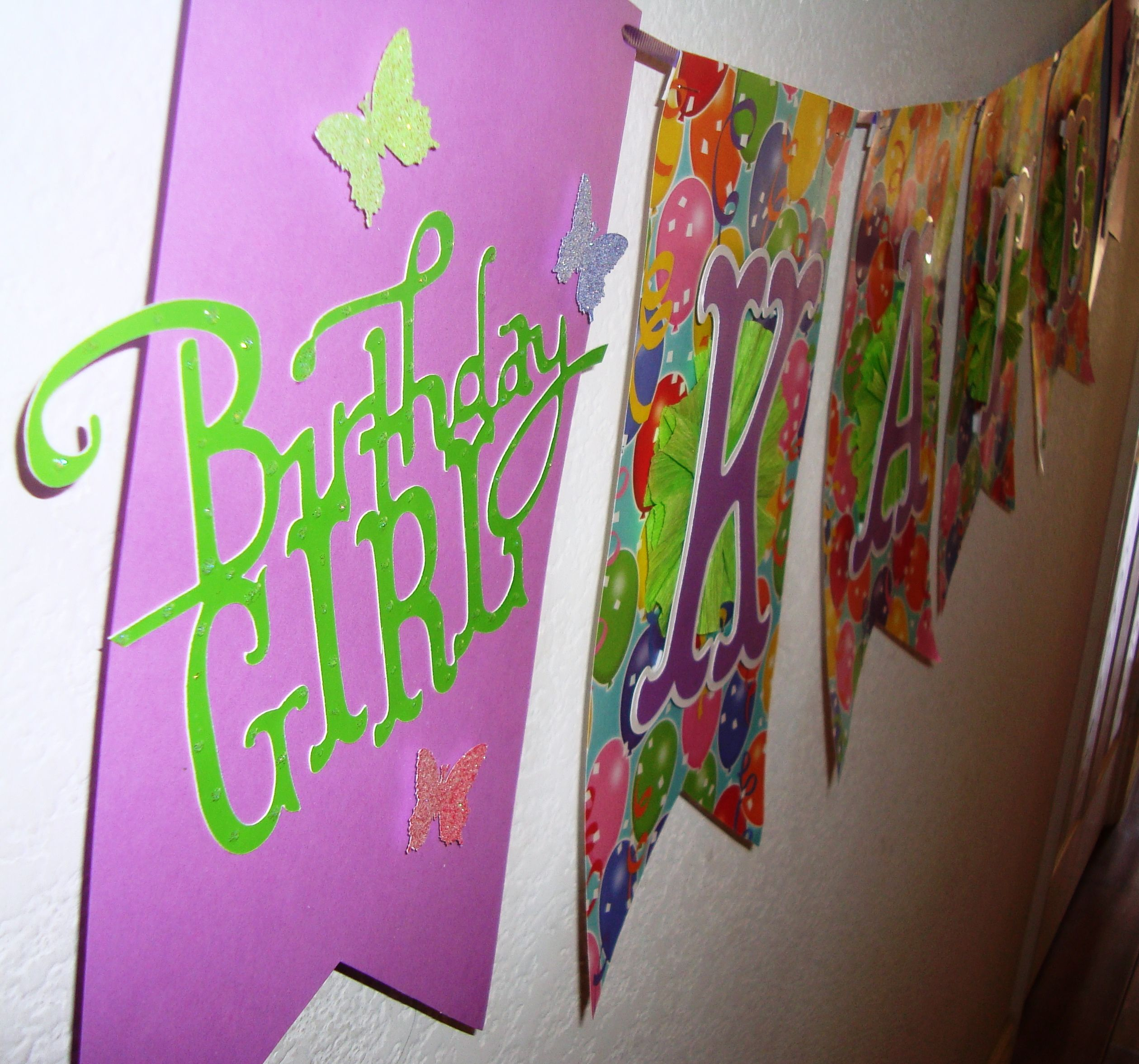 Birthday banner cricut storybook lettering stickles