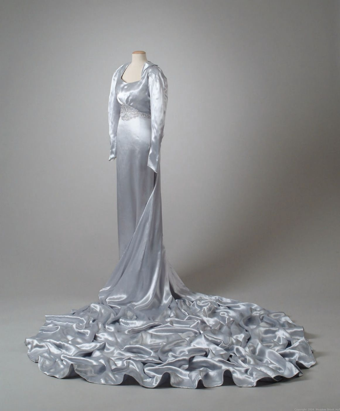 Iceblue silk satin wedding gown worn by dodge family heiress