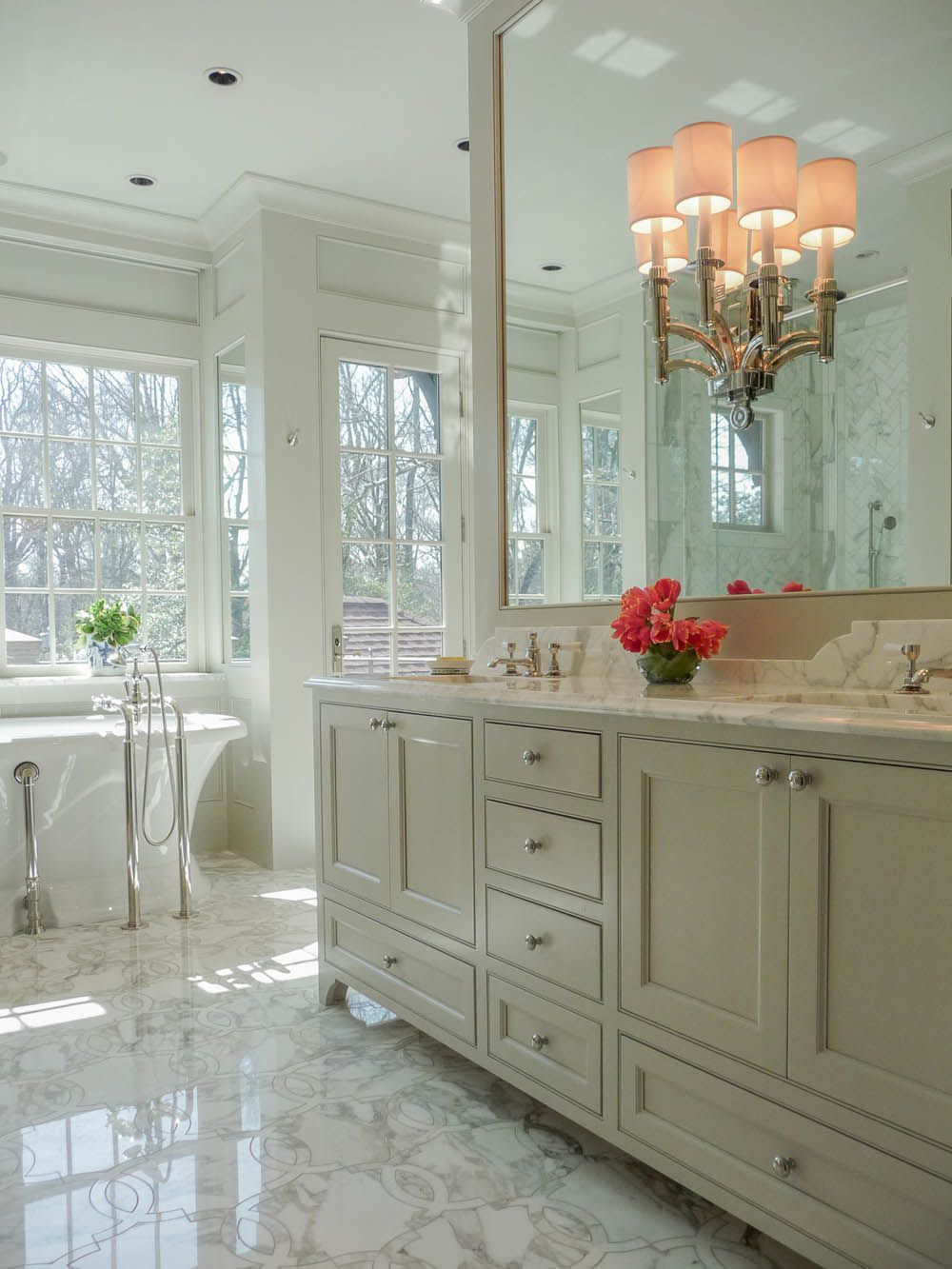 Waterworks Fixtures Custom Cabinetry Inlaid Marble Floors Tub From Renaissance Tile Bath
