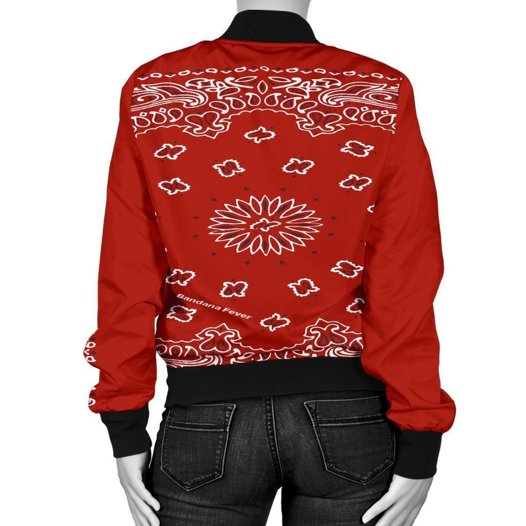 Red Bandana Paisley Print Custom Women S Jacket Bandana Fever Jackets For Women Paisley Print Women [ 1024 x 1024 Pixel ]