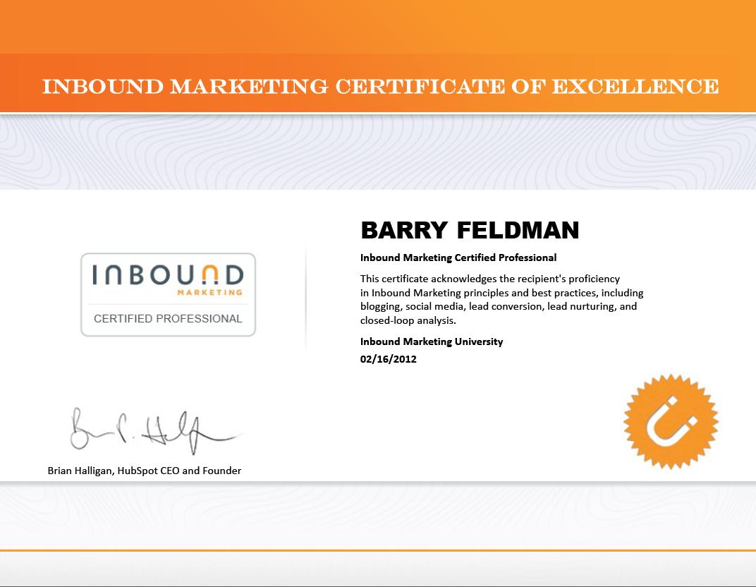 I Am An Inbound Marketing Certified Professional Feldman Creative
