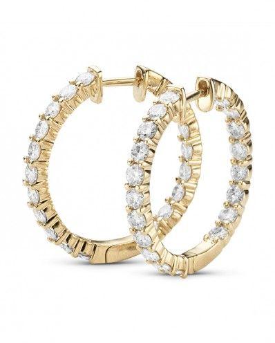 Reba 2 30ctw Round Shape Moissanite Hoop Earrings