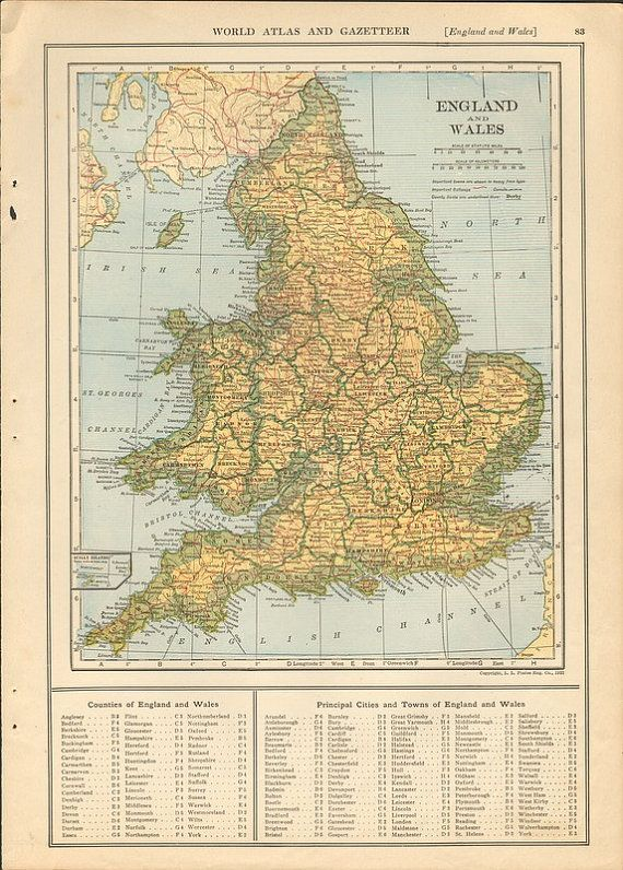 1920s Map Of England And Wales Wales England England Vintage World Maps